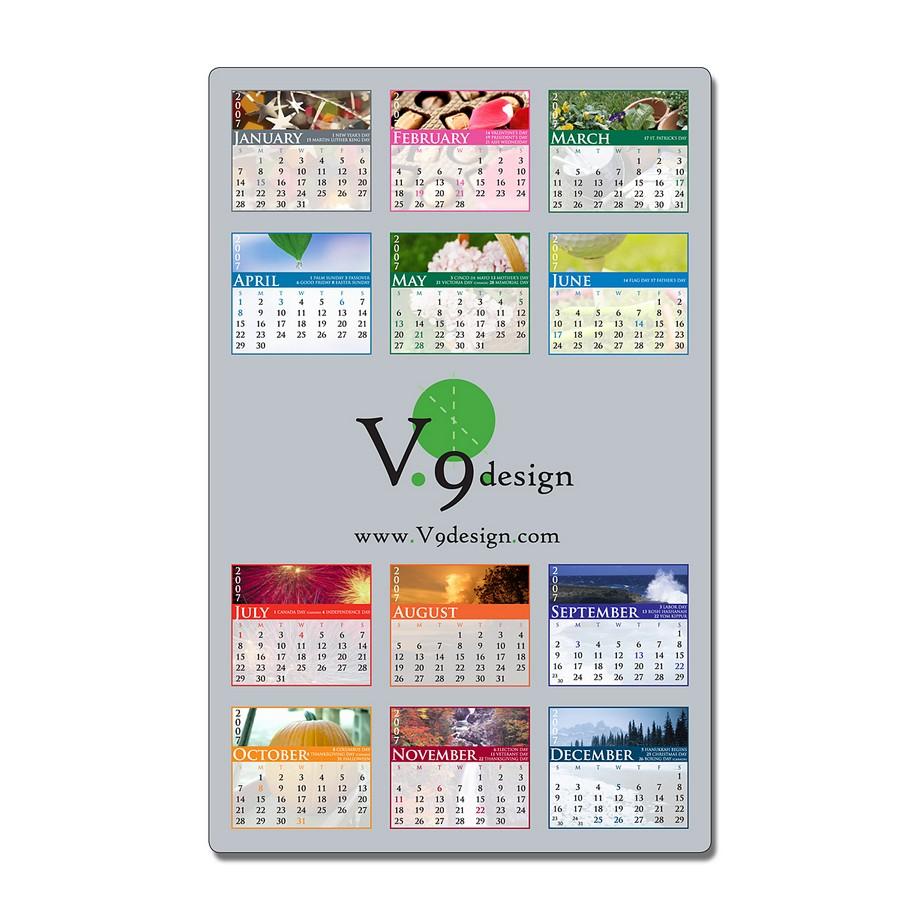 Laminated Card Calendar - 5.25 x 8.5 Repositionable Adhesive Backing