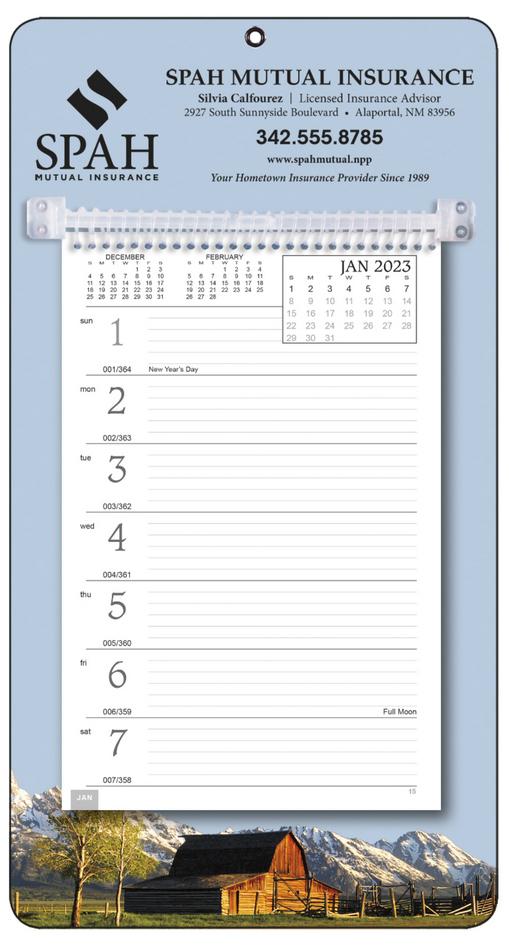 Promotional Weekly Memo Calendar  - Rural