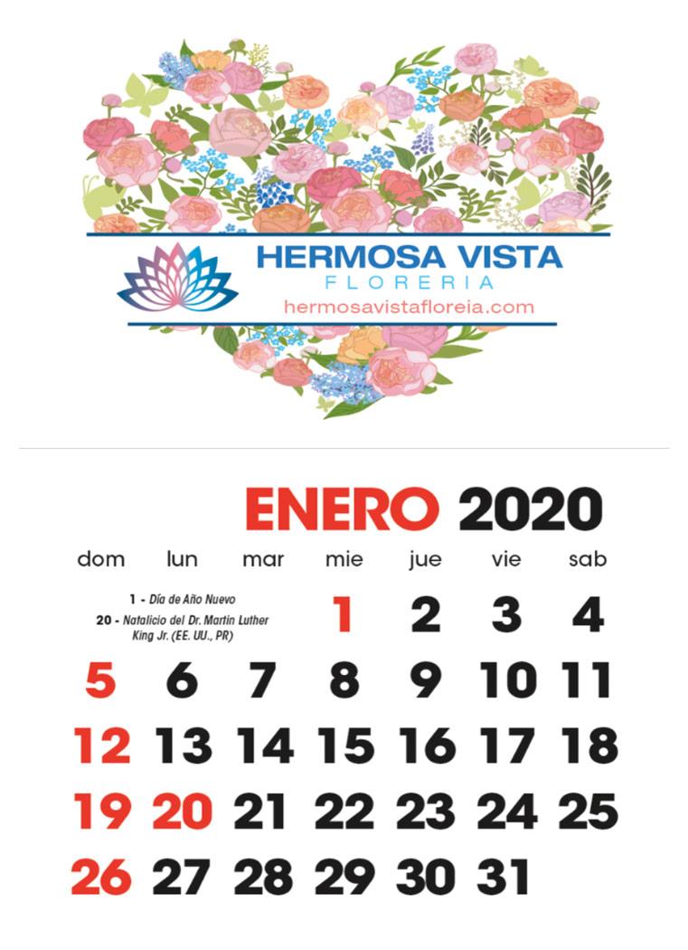 Full Color Stick Up  Mini Calendar with Spanish Calendar Grid, Espanol