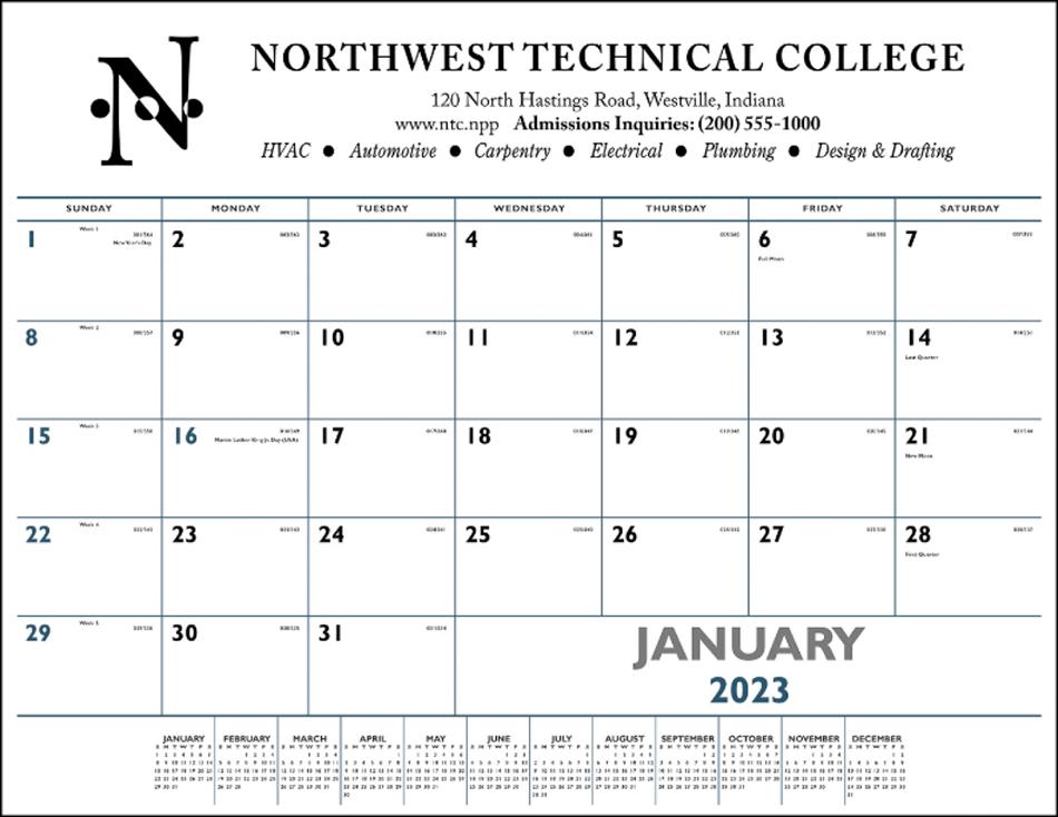 Promotional Desk Pad Calendar W Blue Amp Black Imprint 22x17