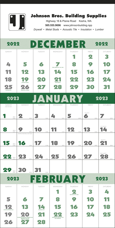 3 Month Wall Planner Promotional Calendar 12 Sheets Julian Dates 13x25