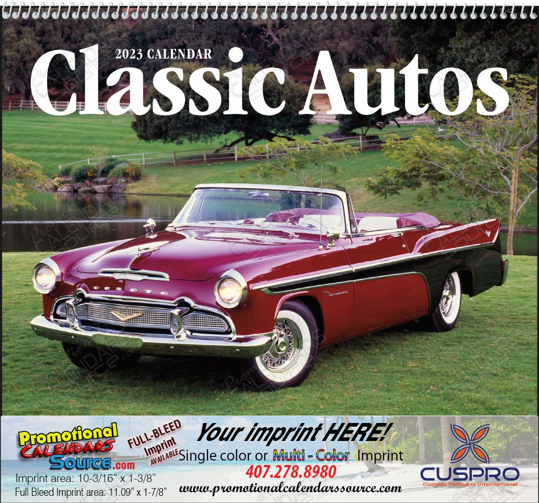 Classic Cars from the 40s, 50s, 60s  Promotional Calendar, 2019, Spiral Binding