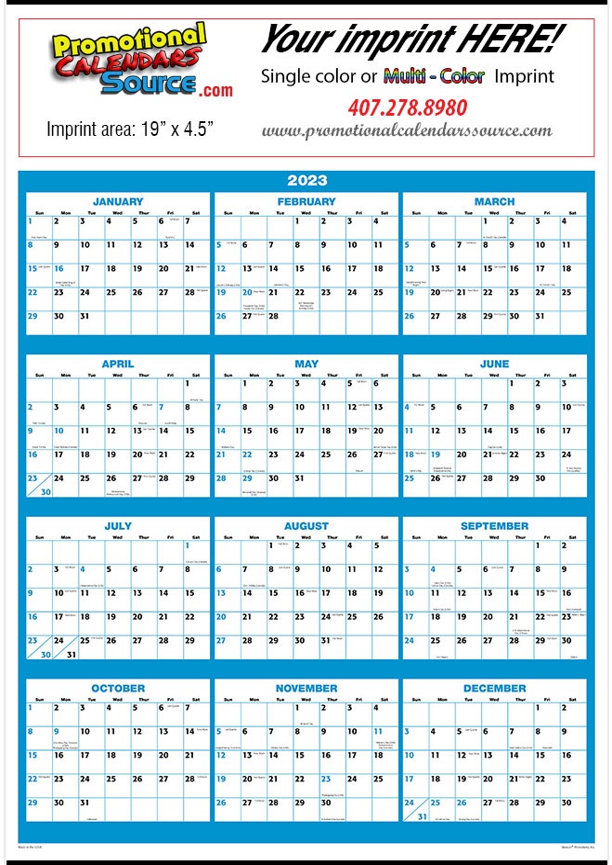 Calendar Year View : Full year view poster calendar blue black