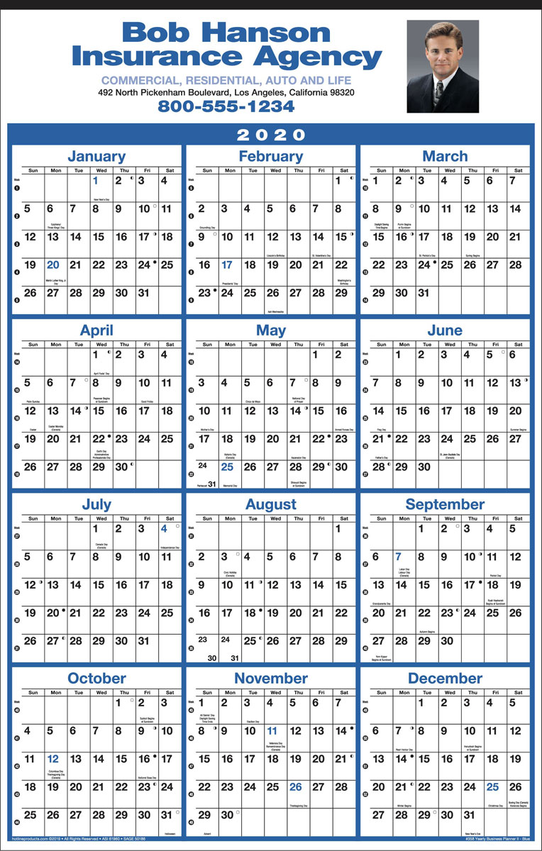 12 Months In View Calendar w Full Color Ad Imprint, Size 14