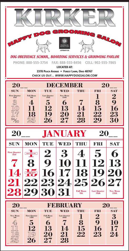 3-Month In View Single Panel Calendar with 12 Sheets and Tinned Top, size 13