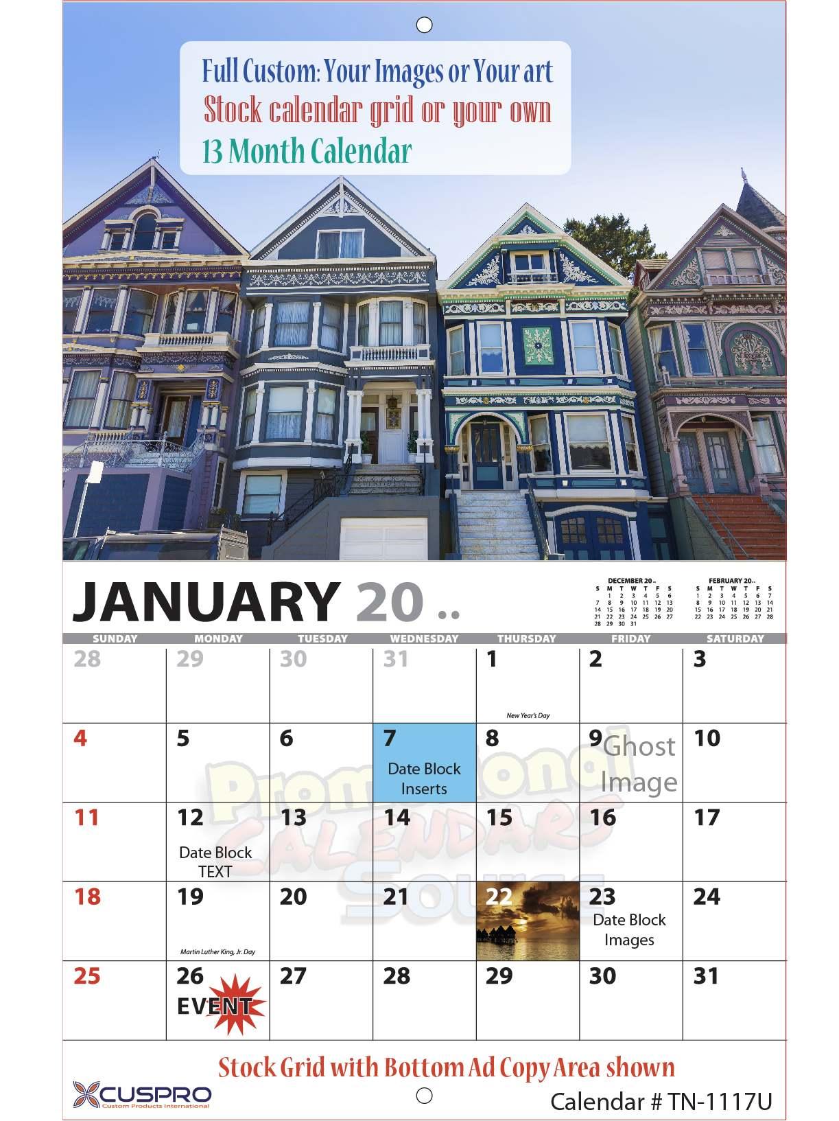 13 Month Custom Photo Wall Calendar, Stapled, Size 11x17, Full-Color Imprint, Full Custom