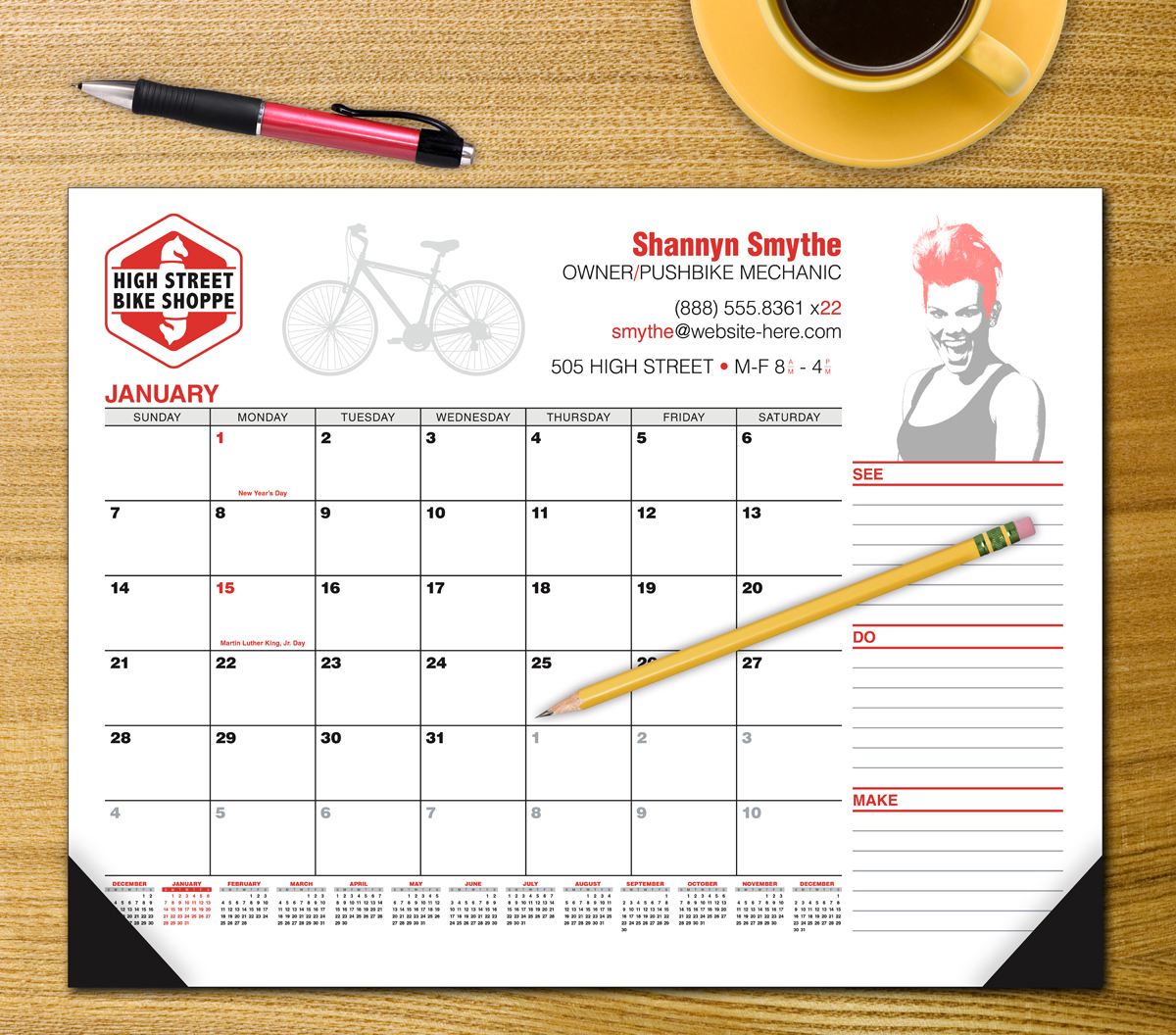 Custom Desk Pad Calendar 12-Month Full color imprint