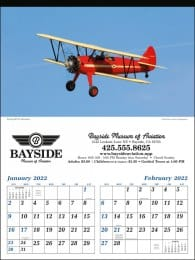 Planes Two Months In View Large Wall Calendar
