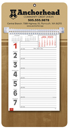 Promotional Big Numbers Weekly Memo Calendar 2019 - Butcher Block