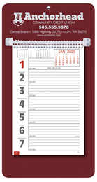 Promotional Big Numbers Weekly Memo Calendar 2019 - Maroon