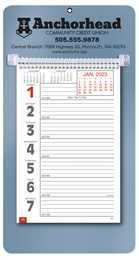 Promotional Big Numbers Weekly Memo Calendar  - Metallic Blue