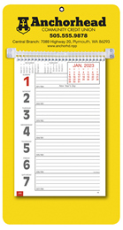 Promotional Big Numbers Weekly Memo Calendar 2019 - Yellow