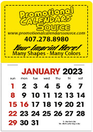 Stick-Up Calendar With Standard Two-Color Grid, 25 Shapes