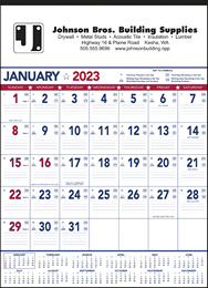 Patriotic Colors Contractor's Calendar, 18x25,