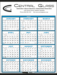 12 month View (Laminated with Marker) 22x29 Calendar