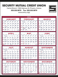 12 Month in View 2019 Calendar Red-Blue, Size 22x29, Week Numbers, Full-Color Option