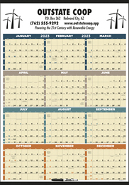 Laminated w/Marker Year View Calendar, 27x38, Full-Color, Julian Dates, Week Numbers