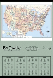 Jumbo Hanger Span-A-Year Calendar, 27x39, USA Map