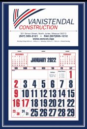 Large Apron Calendar, Blue, Large Numbers, Size 15x22