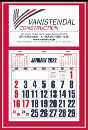 Full-Apron Calendar w Red backer, Large Numbers, Size 15x22