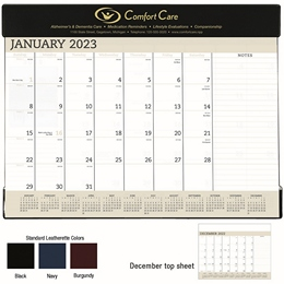 Desk Pad Calendar w Vinyl Header Top 23x17