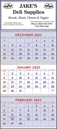 3 Month View Red & Blue Commercial Planner Calendar, Julian Dates, 13x29