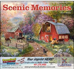 Scenic Memories Illustrations Calendar, 2019, Spiral
