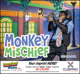 Monkey Mischief Promotional Calendar 2019 Stapled
