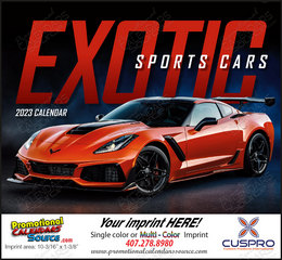Exotic Sports Cars Promotional Calendar 2019 Stapled