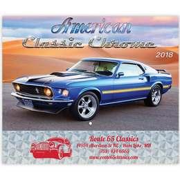American Classic Chrome Wall Calendar 2018 - Stapled, Metallic Foil Stamped Ad, Classic Cars Calendar