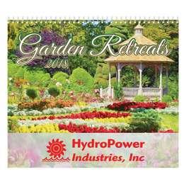 Gardens Retreats Wall Calendar 2018 - Spiral, Metallic Foil Stamped Ad, Nature, Gardens Calendar