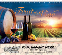 Fuit of the Vine Wall Calendar, Spiral, Metallic Foil Stamped Ad, Vineyards