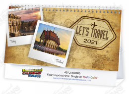 Let's Travel Scenic Tent Desk Calendar 6.25x4