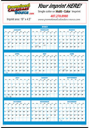 Full Year View Single Sheet 2019 Calendar 22x29 Blue & Black