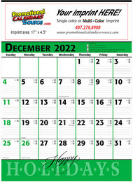 Commercial Promotional Planner Calendar Green & Black