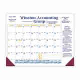 Desk Pad Calendar with Blue & Gold Grid & 2 Imprint Areas