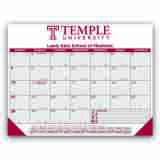 Promo Desk Pad Calendar with Burgundy & Gray Grid 22x17