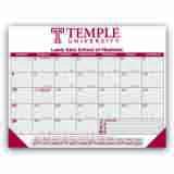 Promo Desk Pad Calendar with Burgundy & Gray Grid 22x17