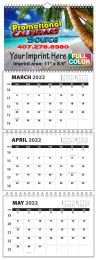Custom 3-Month Four panel wall calendar w Numbered Weeks 11x31.5