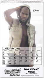 Male Models 2022 Calendar with Top Spiral ,Size 8x14