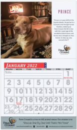 Custom Wall Calendar with Large Grid Numbers, Stapled Binding, 13 Full Color Images, Drop Ad Copy