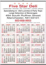 Red and Black 12 month year-at-a-glance calendar single sheet 19.5x27
