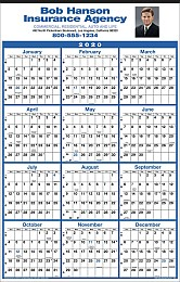 12 Month View Calendar w Full Color Ad Copy Imprint, 14x22