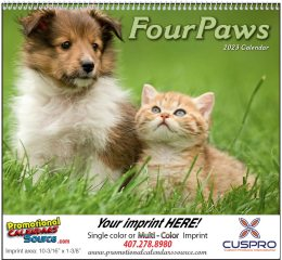 Four Paws Puppies & Kittens Wall Calendar 2019 Spiral