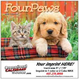 Four Paws Mini Promotional Wall Calendar 2019