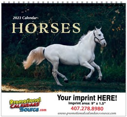 Horses Wall Calendar w Spiral Binding, 11x19, 2022