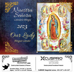 Our Lady Calendar (Bilingual Spanish-English) Catholic Calendar with Funeral Preplanning insert option