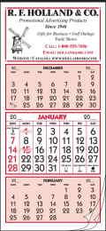 12-Sheet 3-Month View Single Panel Calendar 9.25x19.75