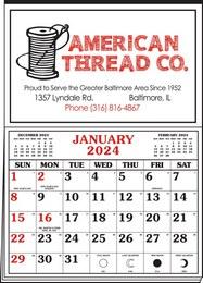 Memo Master Half Apron Calendar with 2-Color Red-Black Imprint 20.5x28.55