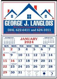 Memo Master Half Apron Calendar with 2-Color Red-Blue Imprint 20.5x28.55